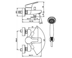 Смеситель Vidima Form для ванны, c коротким изливом, размеры